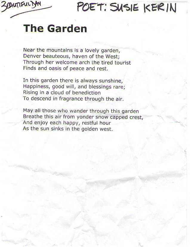 Poem read by Lisa and Bono in denver  The Garden. U2  Poem Read Before Beautiful Day in Denver   Larry Lootsteen s Blog