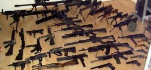 Stash of automatic weapons